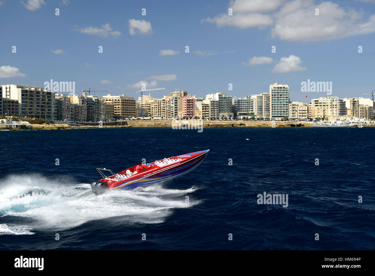 powerboat speedboat Mediterranean sea ocean sport tourism sightseeing action active island tour tours Malta Gozo - Stock Image
