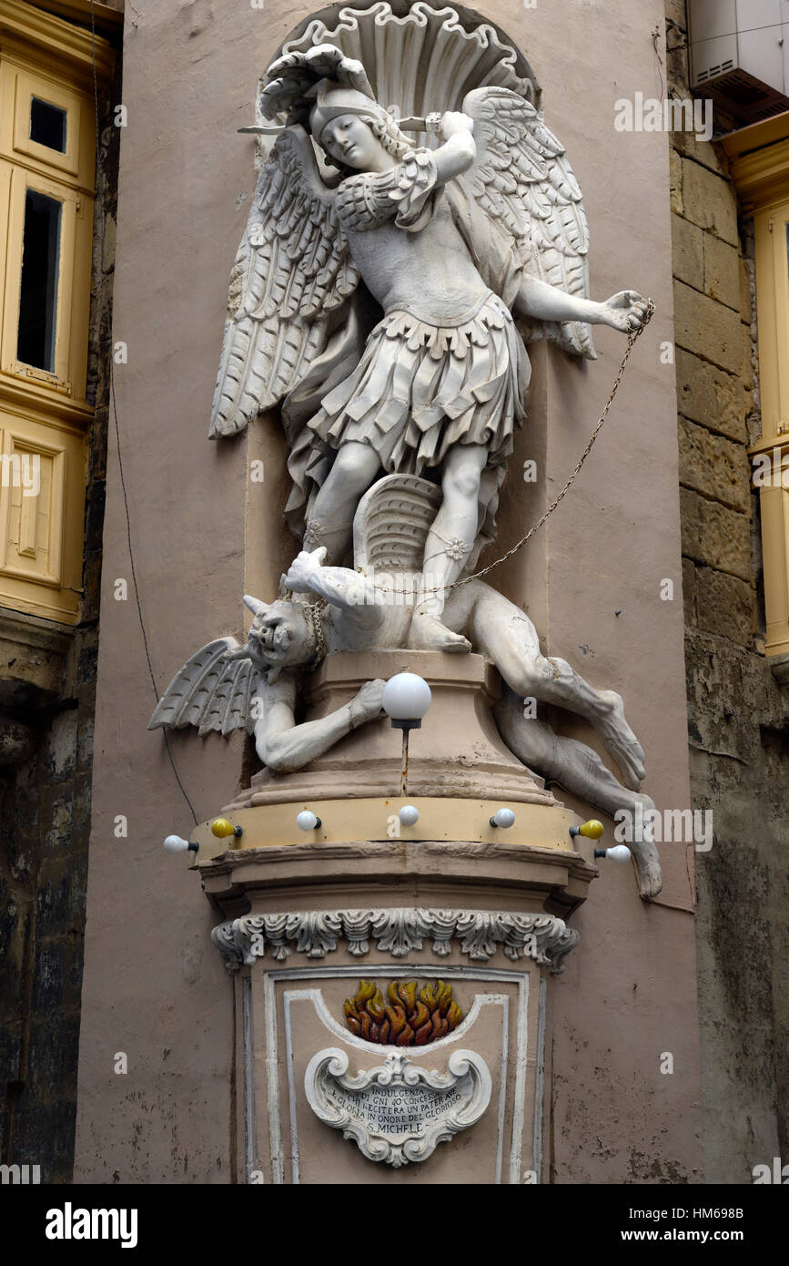 St Michael Fighting Satan Devil Statue Sculpture Street Corner Outdoor  Outside Religious Iconography Valletta Malta RM World