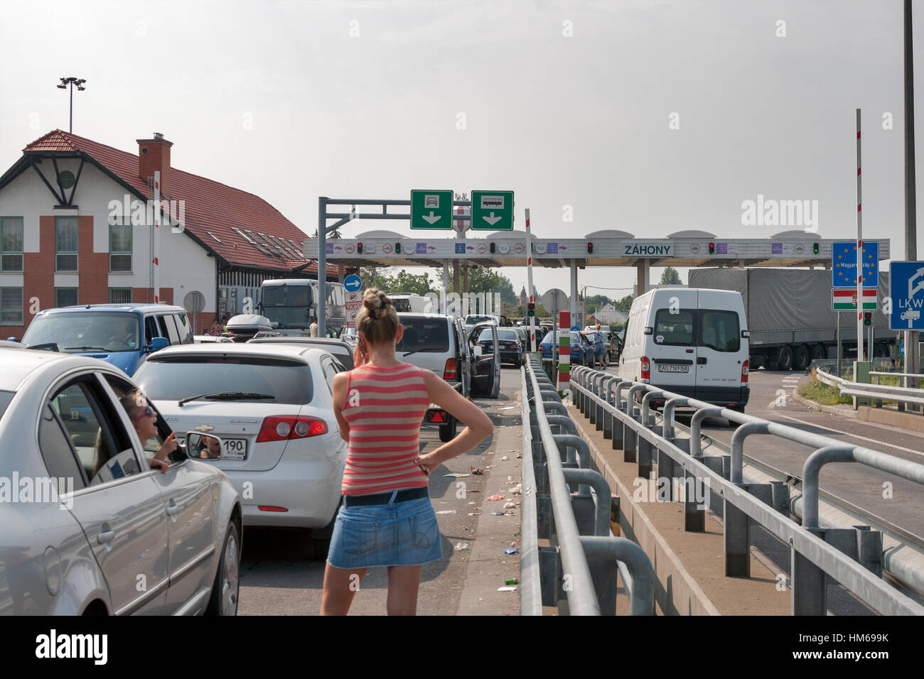 Zahony, Hungary - August 05, 2012: Traffic jams on the Ukrainian-Hungarian border (between Chop and Zahony) customs - Stock Image
