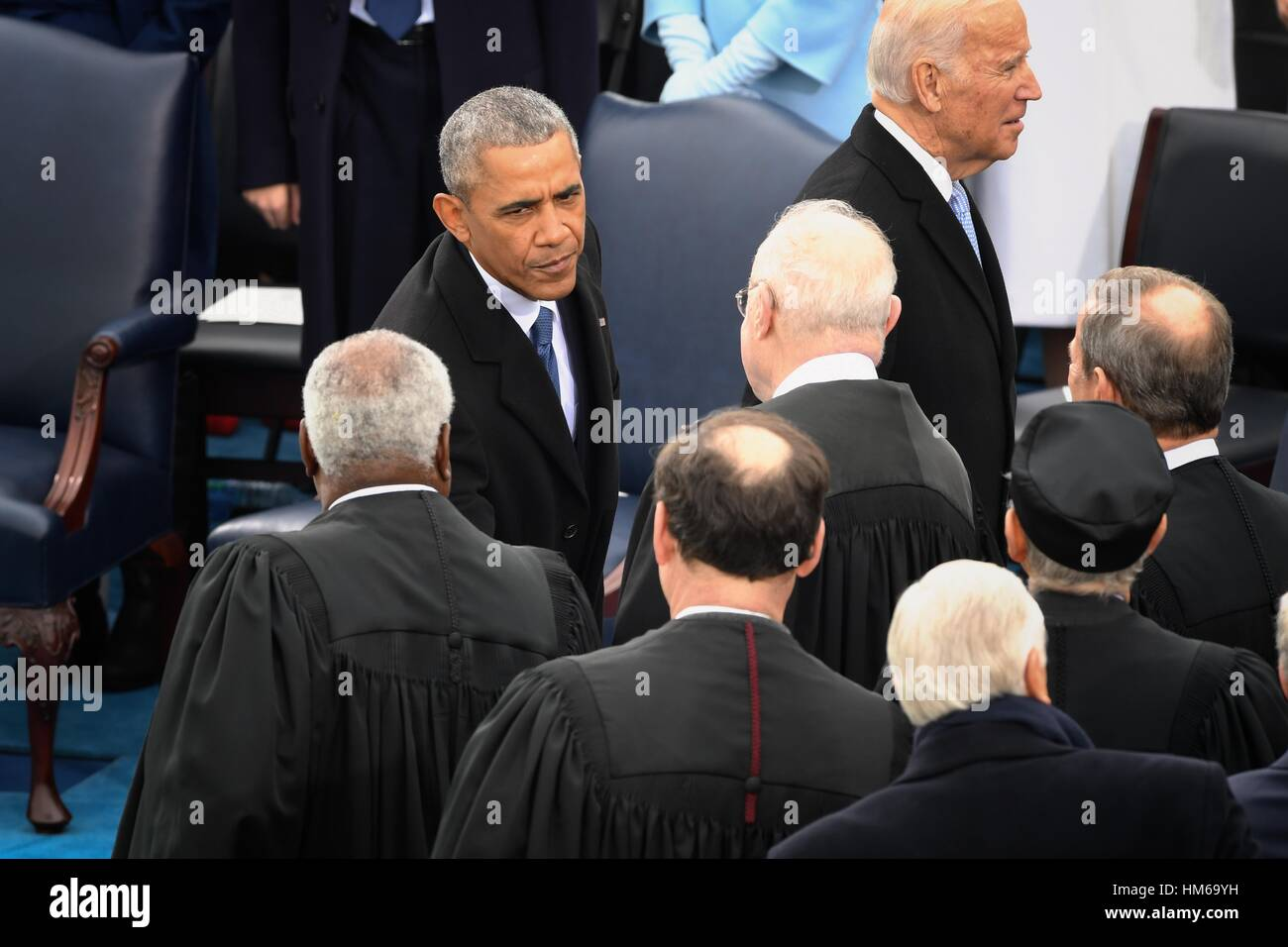 President Barack Obama Greets Justices Of The Supreme Court After He
