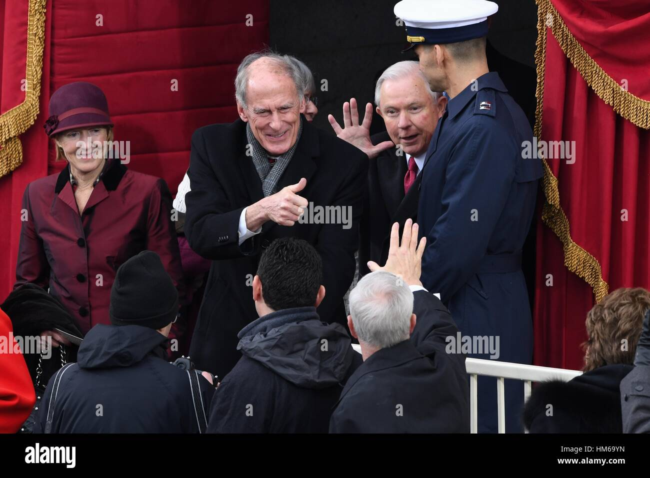 Director of National Intelligence Dan Coats, center, and Attorney General Jeff Sessions arrive for the 68th President - Stock Image