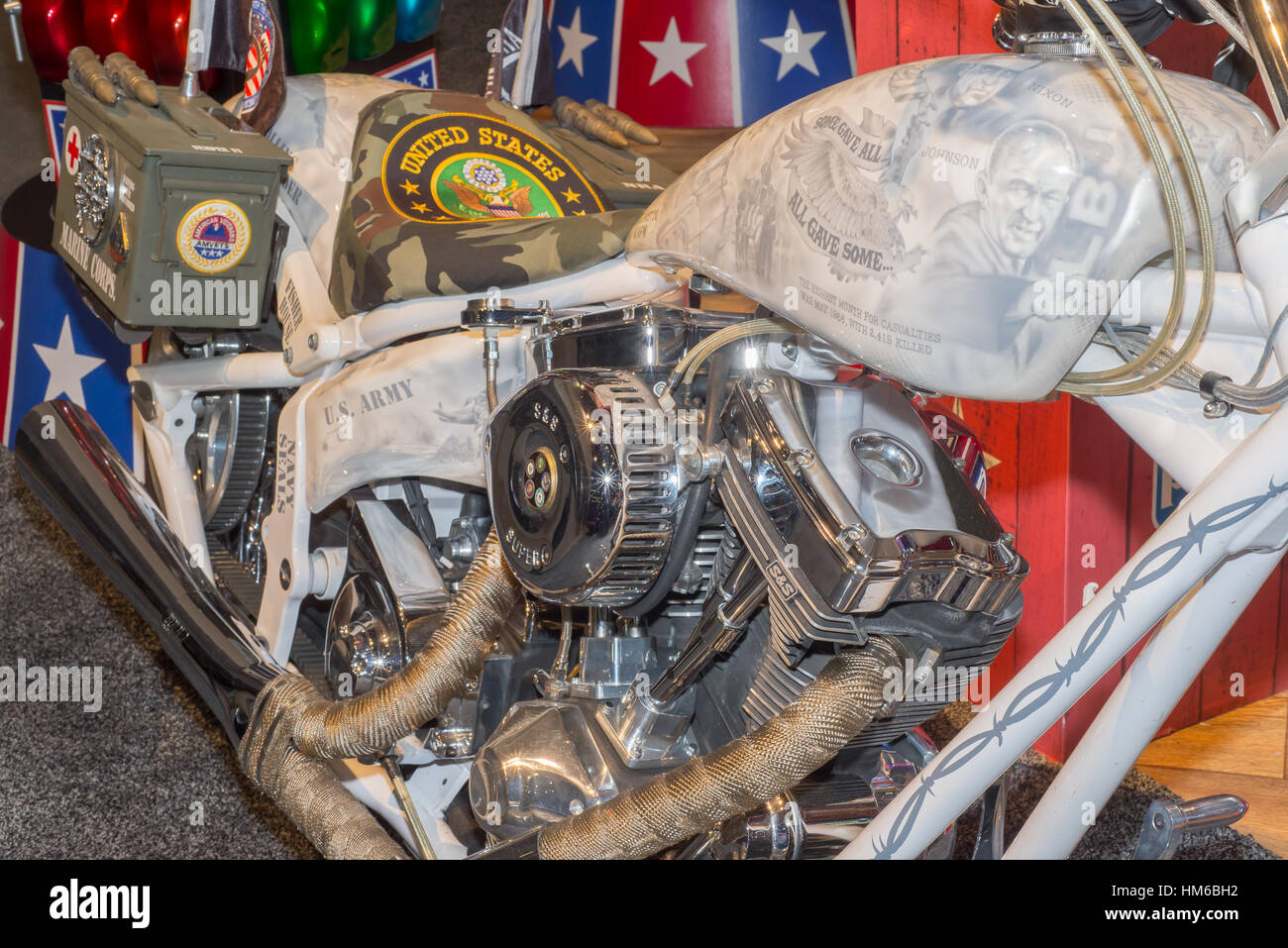 Vietnam tribute motorcycle with presidents Nixon and Johnson at SEMA. - Stock Image
