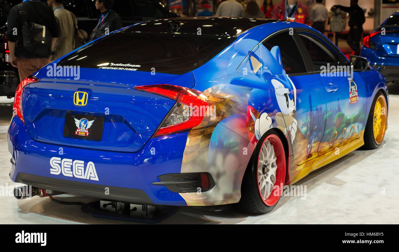 Sonic The Hedgehog Honda Civic Car At Sema Stock Photo Alamy