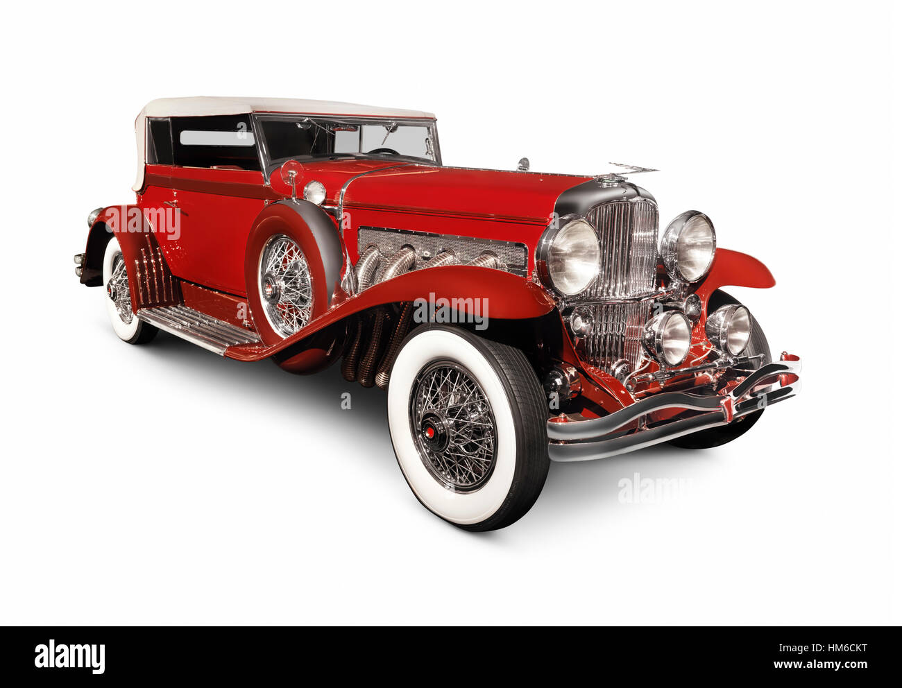 Red 1930 Duesenberg Model SJ, luxury classic vintage car - Stock Image