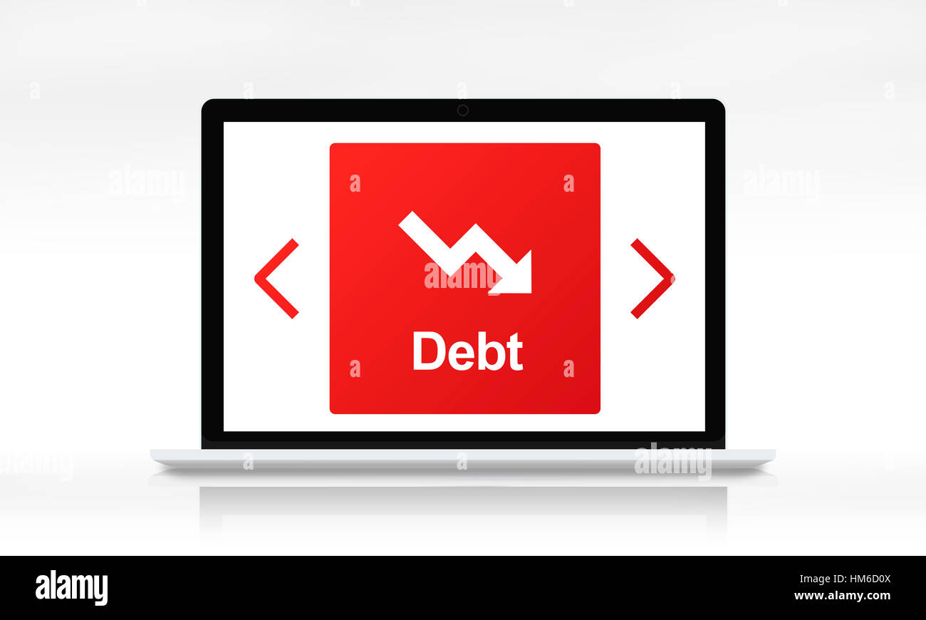 Debt Ridk Difficulty Downfall Concept - Stock Image