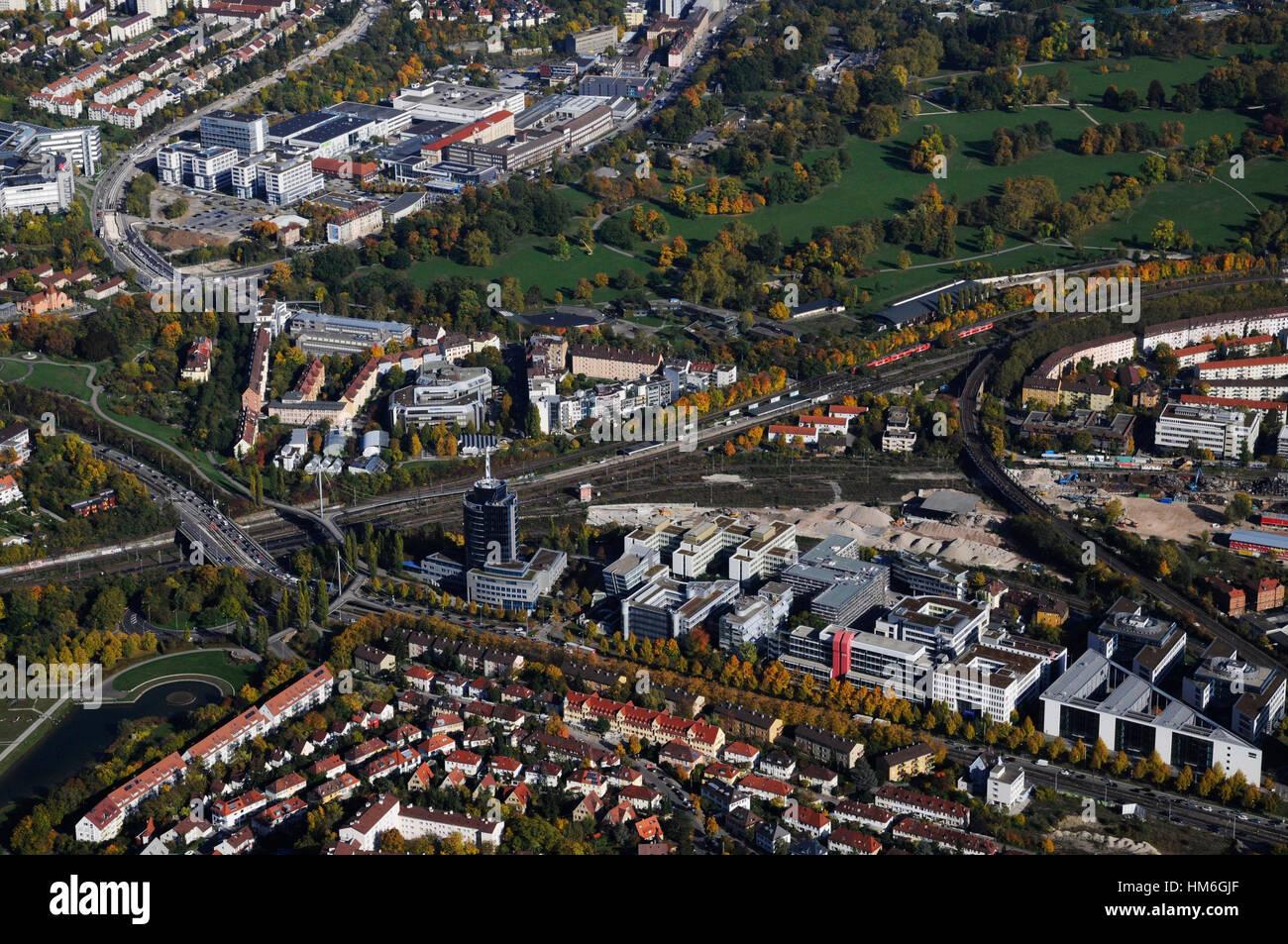 Stuttgart-North, Heilbronner Strasse, Bülow-Turm, Löwentor, Pragstrasse, police headquarters, Äusserer Nordbahnhof Stock Photo