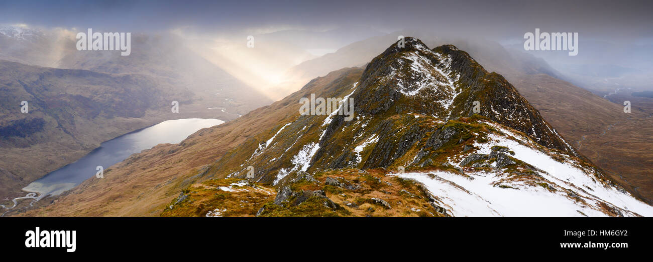 looking over aonach sgoilte and dubh lochain on the knoydart peninsula from Ladhar Bheinn - the most westerly munro Stock Photo