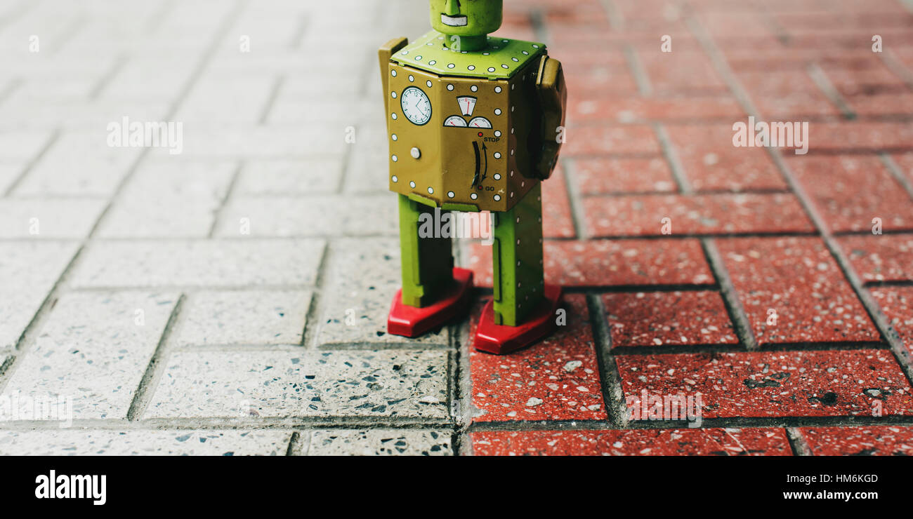 Robot Toy Imagination Retro Styled Tiled Floor Concept - Stock Image