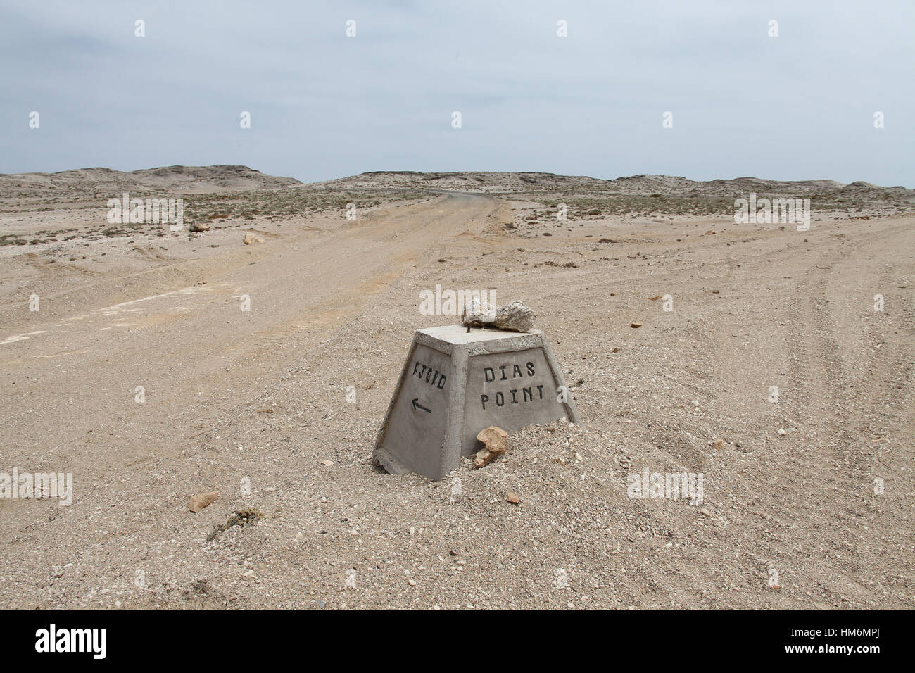 Gravel road to Diaz Point on the Luderitz Peninsula route - Stock Image