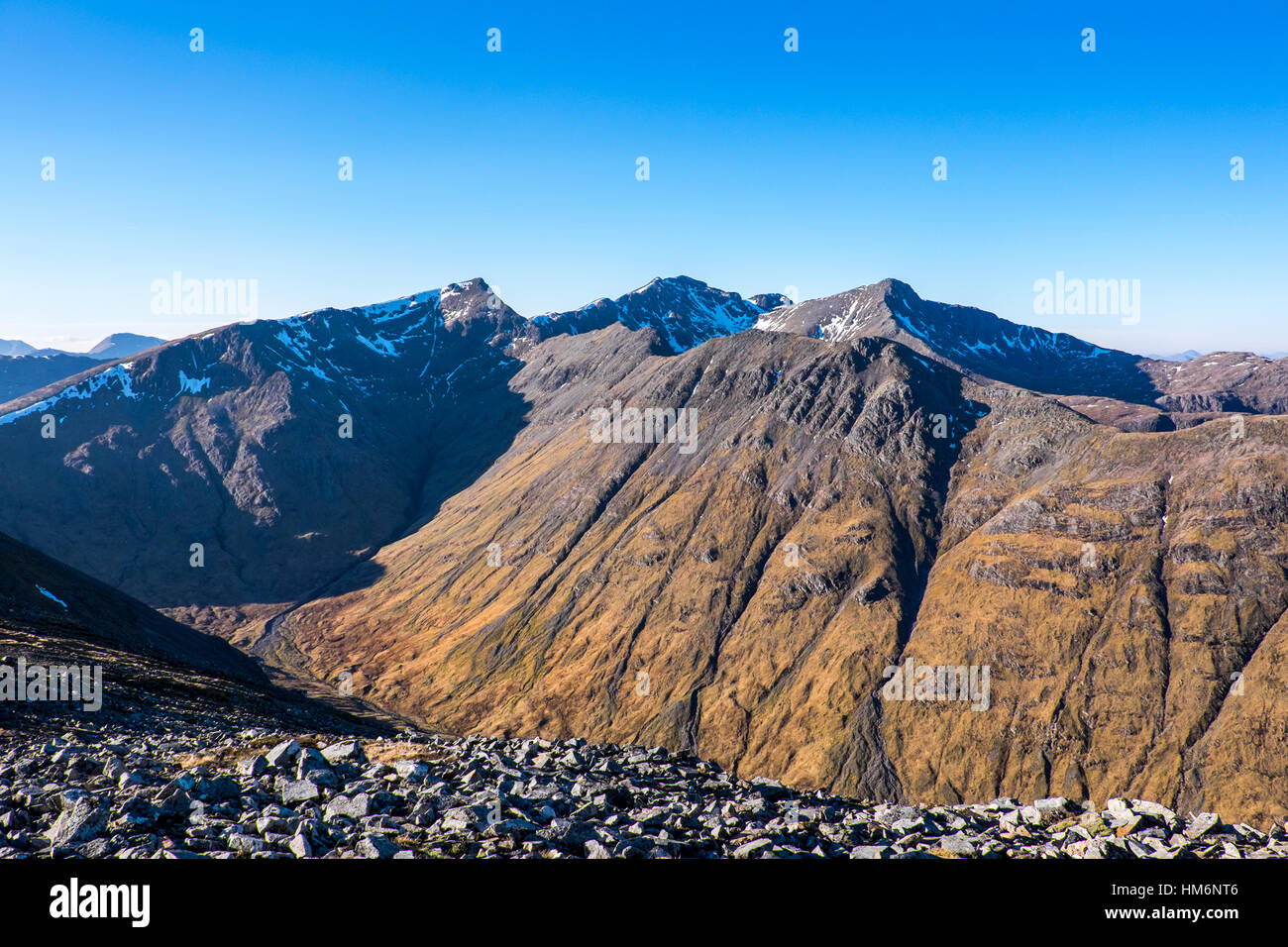 Bidean Nam Bian massif, Glencoe ,Scotland, viewed from Buchaille Etive Beag Stock Photo