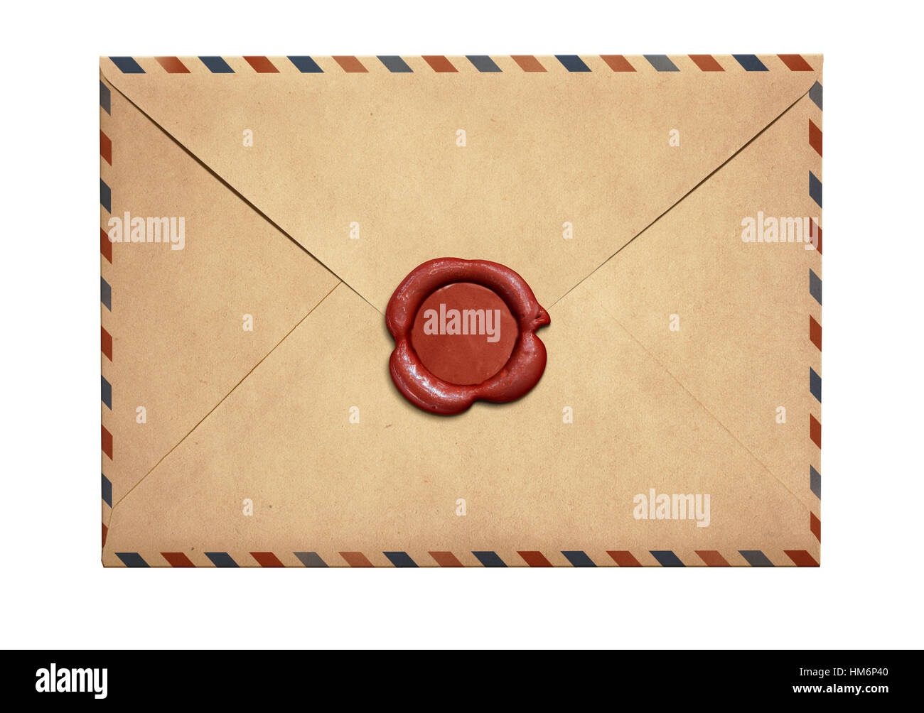 Old air letter envelope with red wax seal isolated - Stock Image
