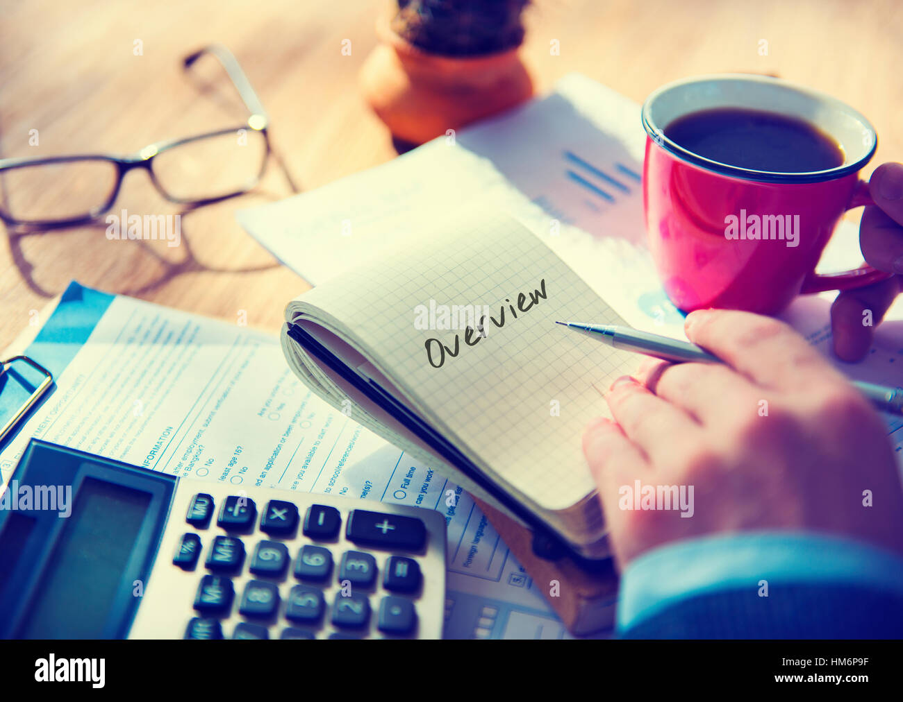 Overview Brief Summary Description Conclusion Concept - Stock Image