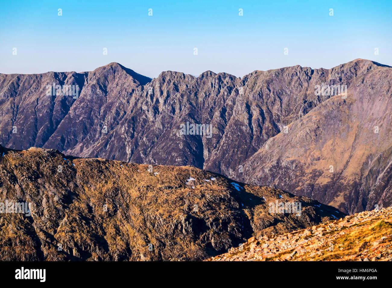 The Aonach Eagach ridge, Glencoe, Scotland seen from Buchaille Etive Beag - Stock Image