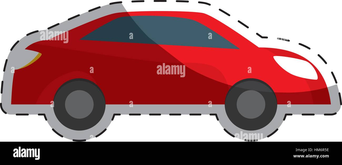red car city scene image design icon, vector illustration - Stock Vector