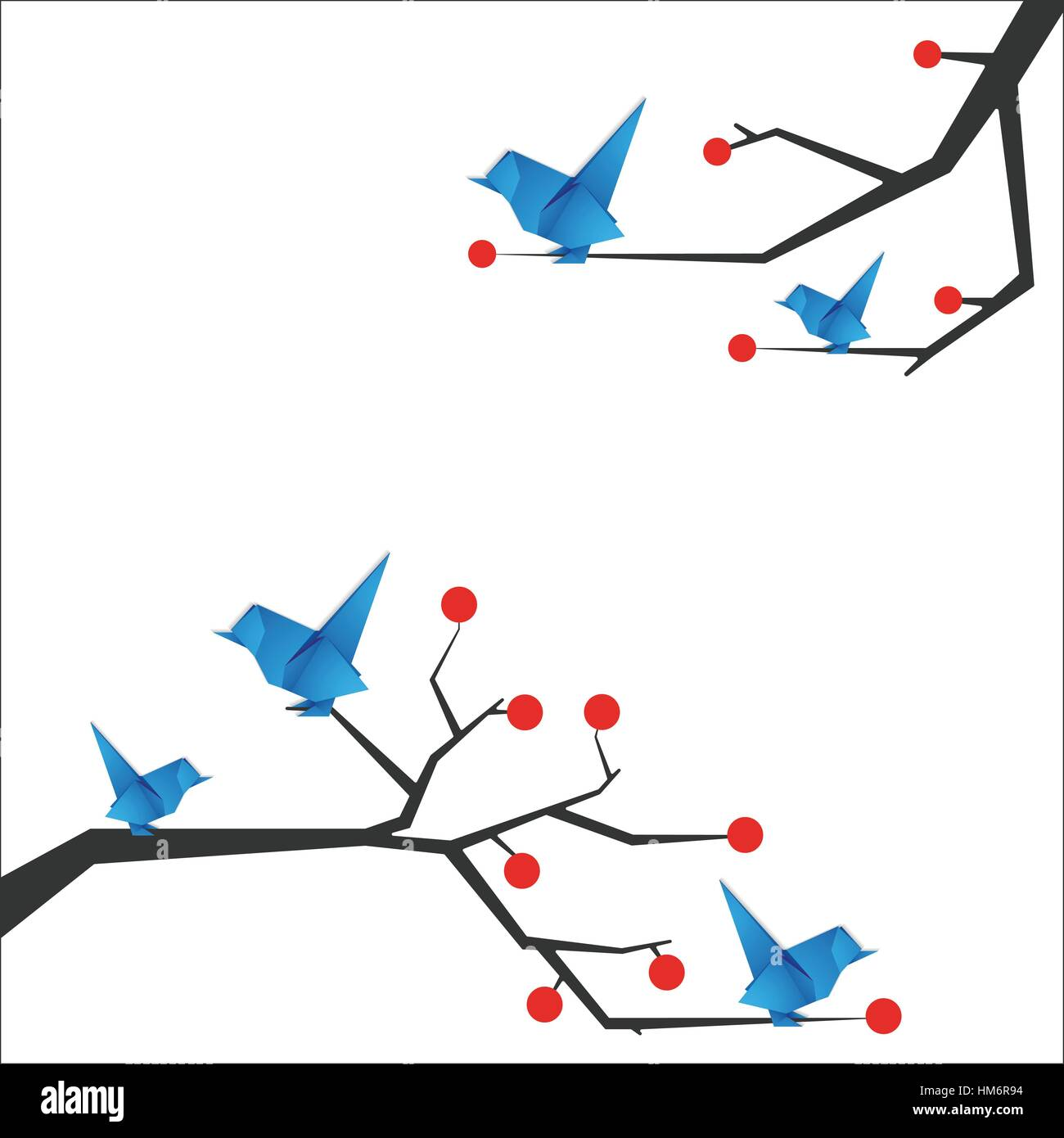 Origami bird Vector illustration Blue bird origami sitting on the branches of trees with berries Flat design and - Stock Image
