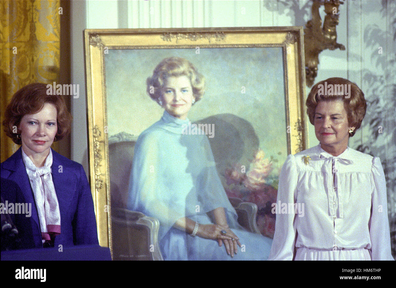 First lady Rosalynn Carter, left, and former first lady Betty Ford pose next to the portrait of Mrs. Ford that was Stock Photo