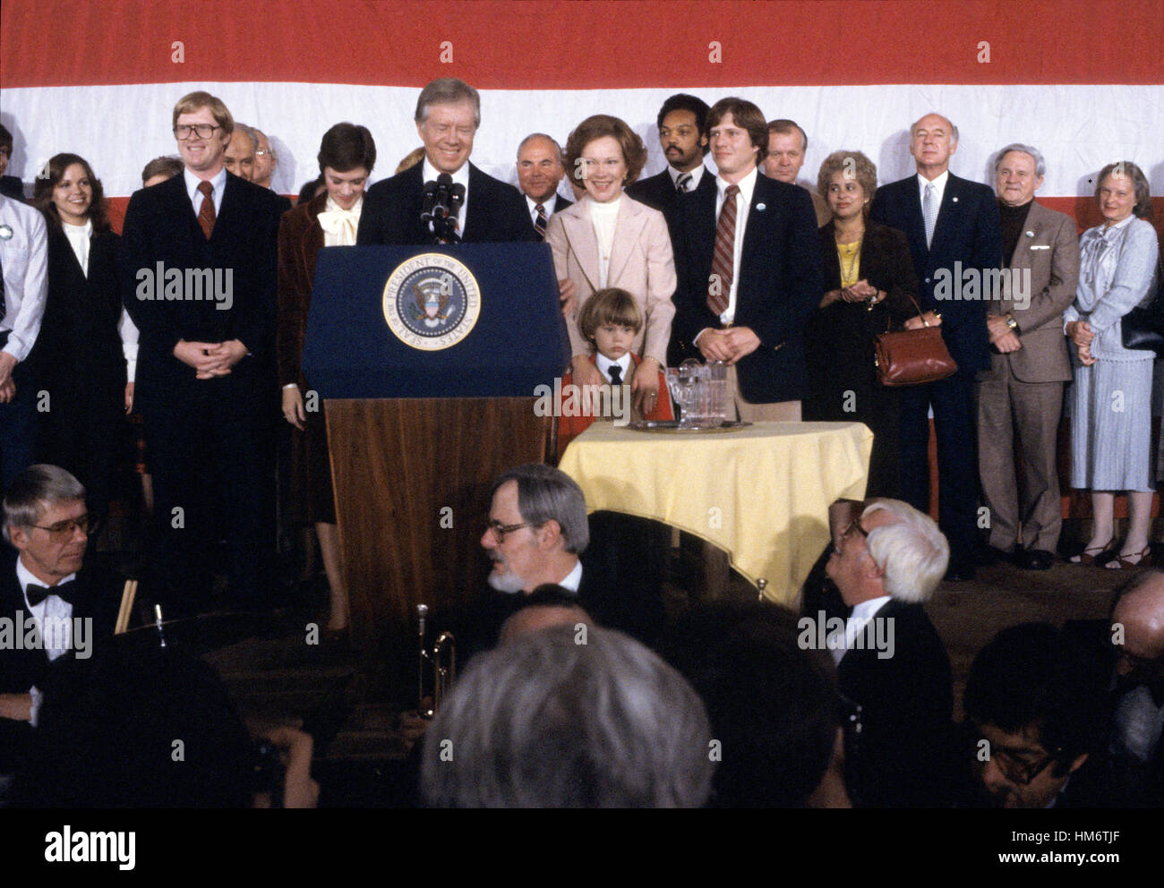 Members of the Carter family including first lady Rosalynn Carter look on as United States President Jimmy Carter Stock Photo