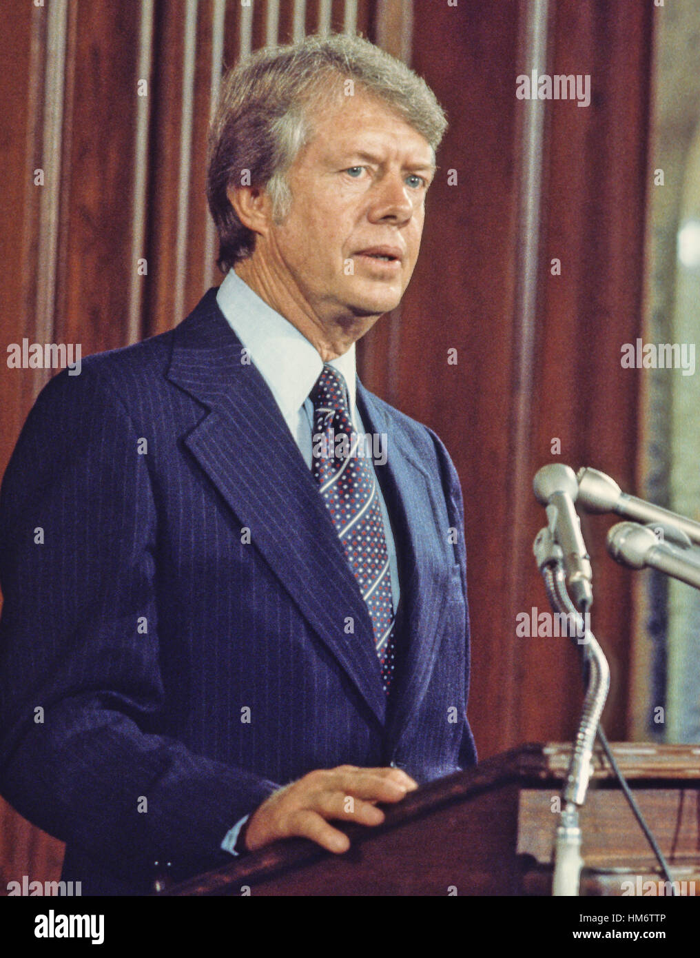 United States President-elect Jimmy Carter meets reporters after meeting with Congressional leaders in the US Capitol - Stock Image