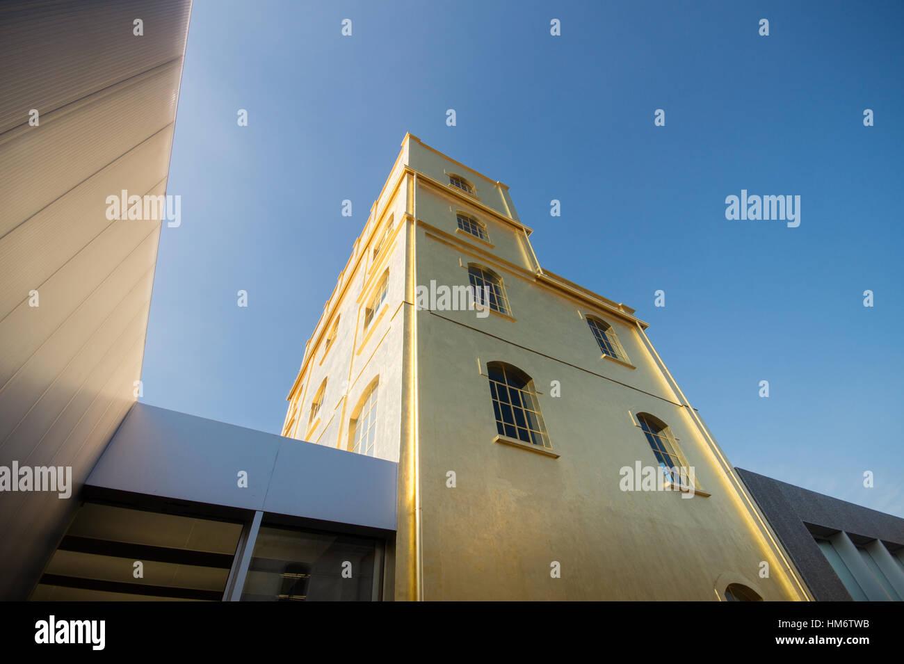 Fondazione Prada contemporary art museum Milano designed by Rem Koolhaas exterior view - Stock Image