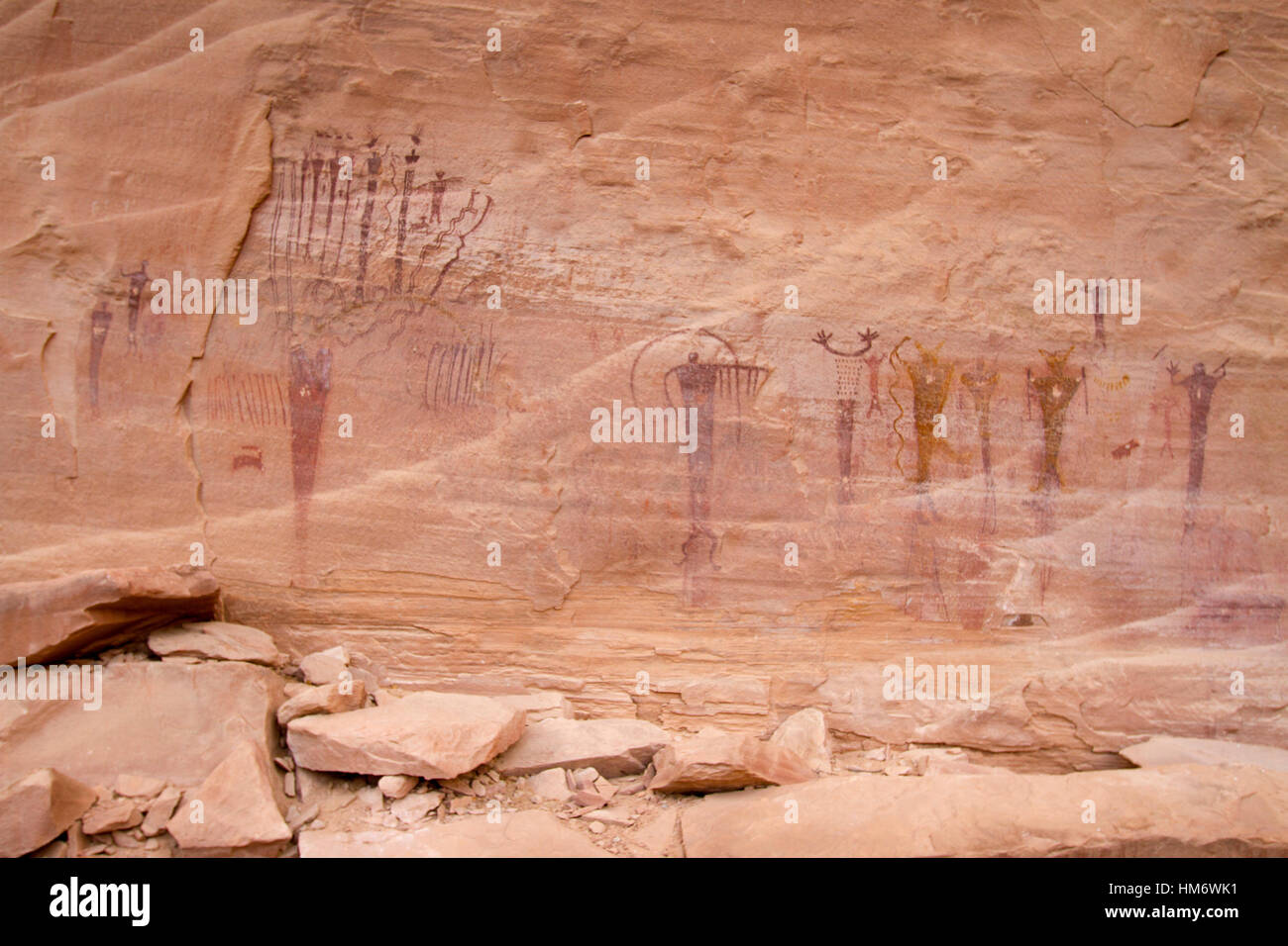 Tribal art on rock - Stock Image