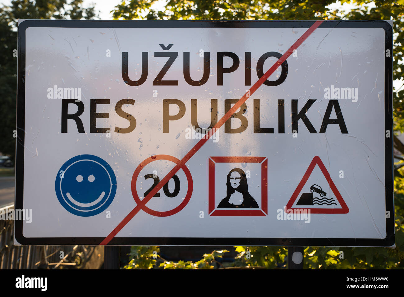 Sign at the border of the Republic of Užupis, Vilnius, Lithuania Stock Photo