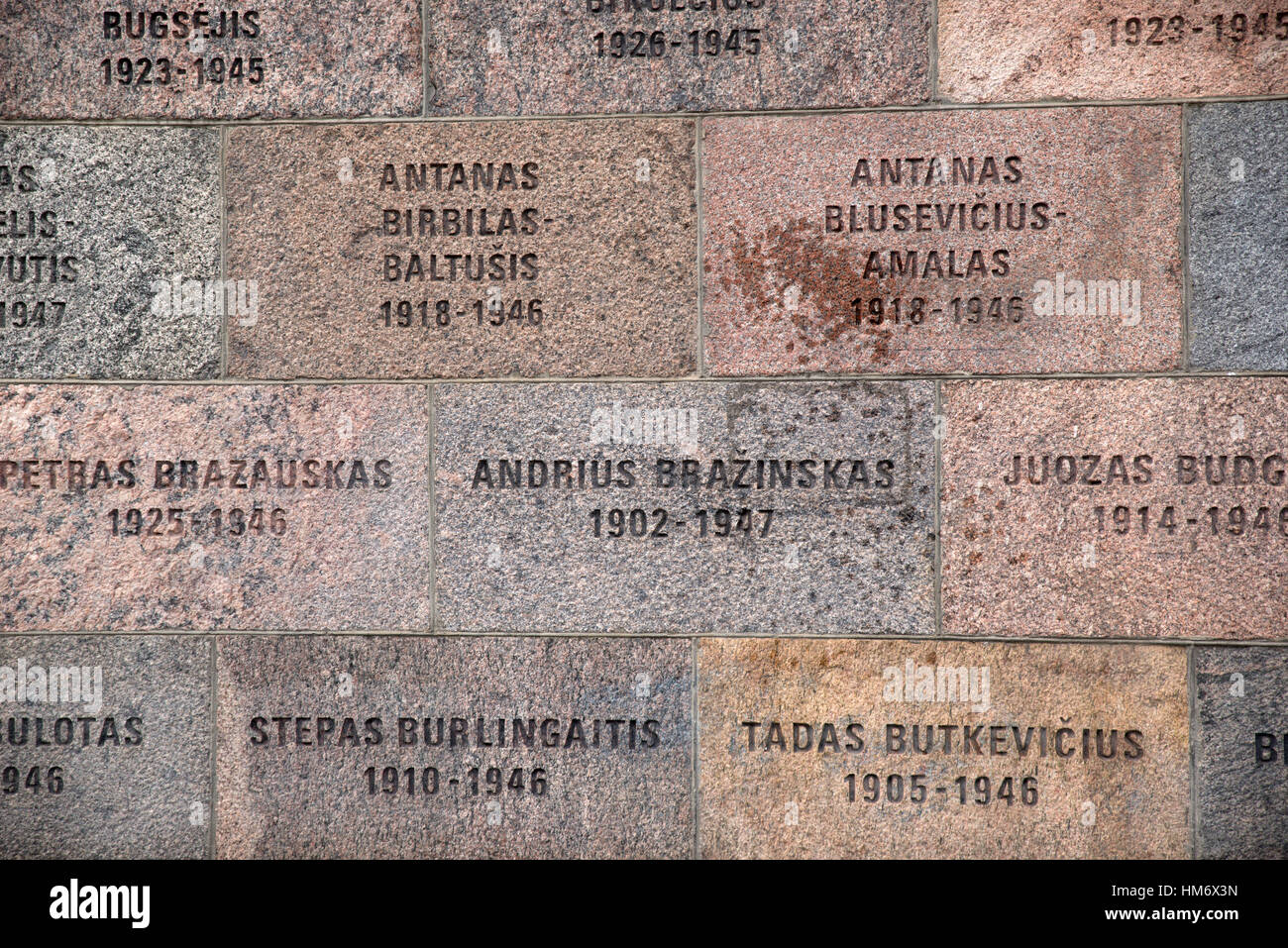 Memorial plaques on the Museum of Occupations and Freedom Fights (formerly Genocide Victims), Vilnius. Lithuania - Stock Image