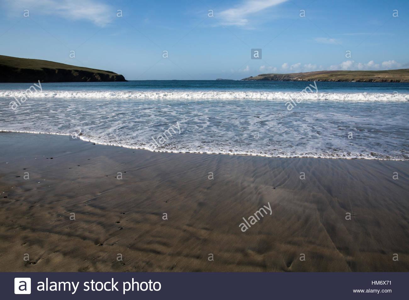 Sandsape and Beach of St. Ninia's Isle - Stock Image