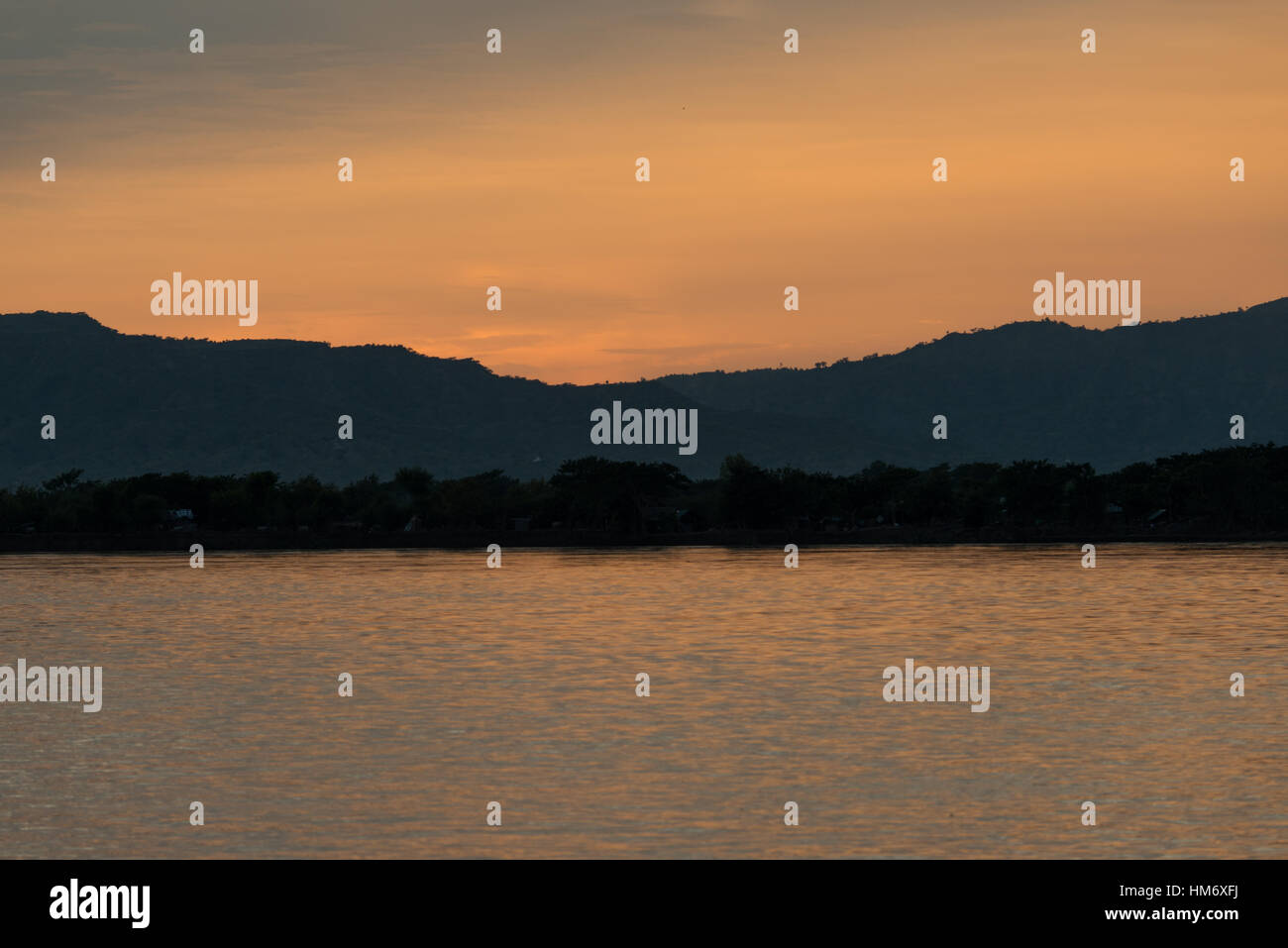 BAGAN, Myanmar (Burma) - The Ayeyarwaddy River (or Irrawaddy River) is the largest river in Myanmar. Running from Stock Photo
