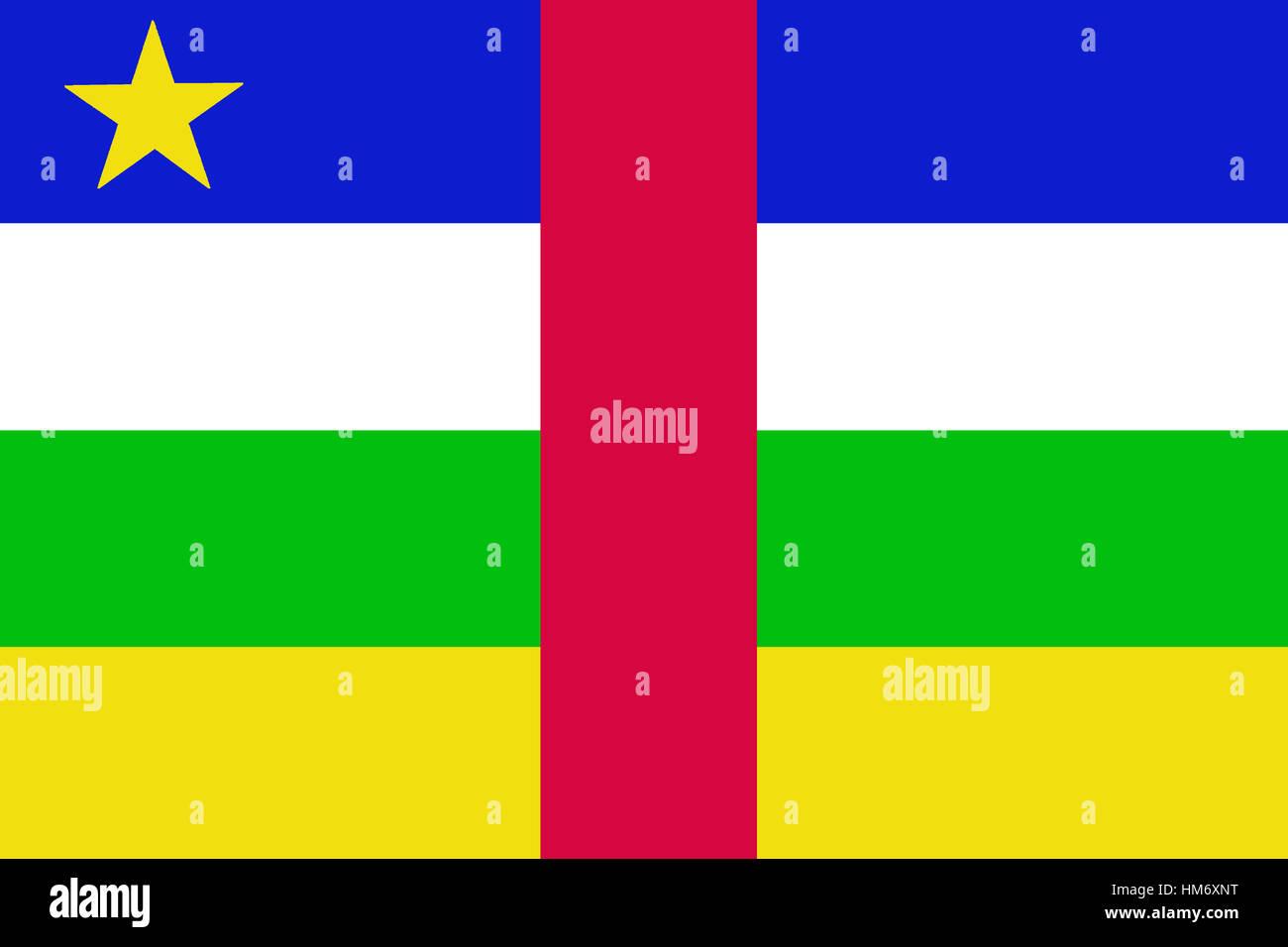 Central African Republic Flag 3d Illustration Symbol Stock Photo