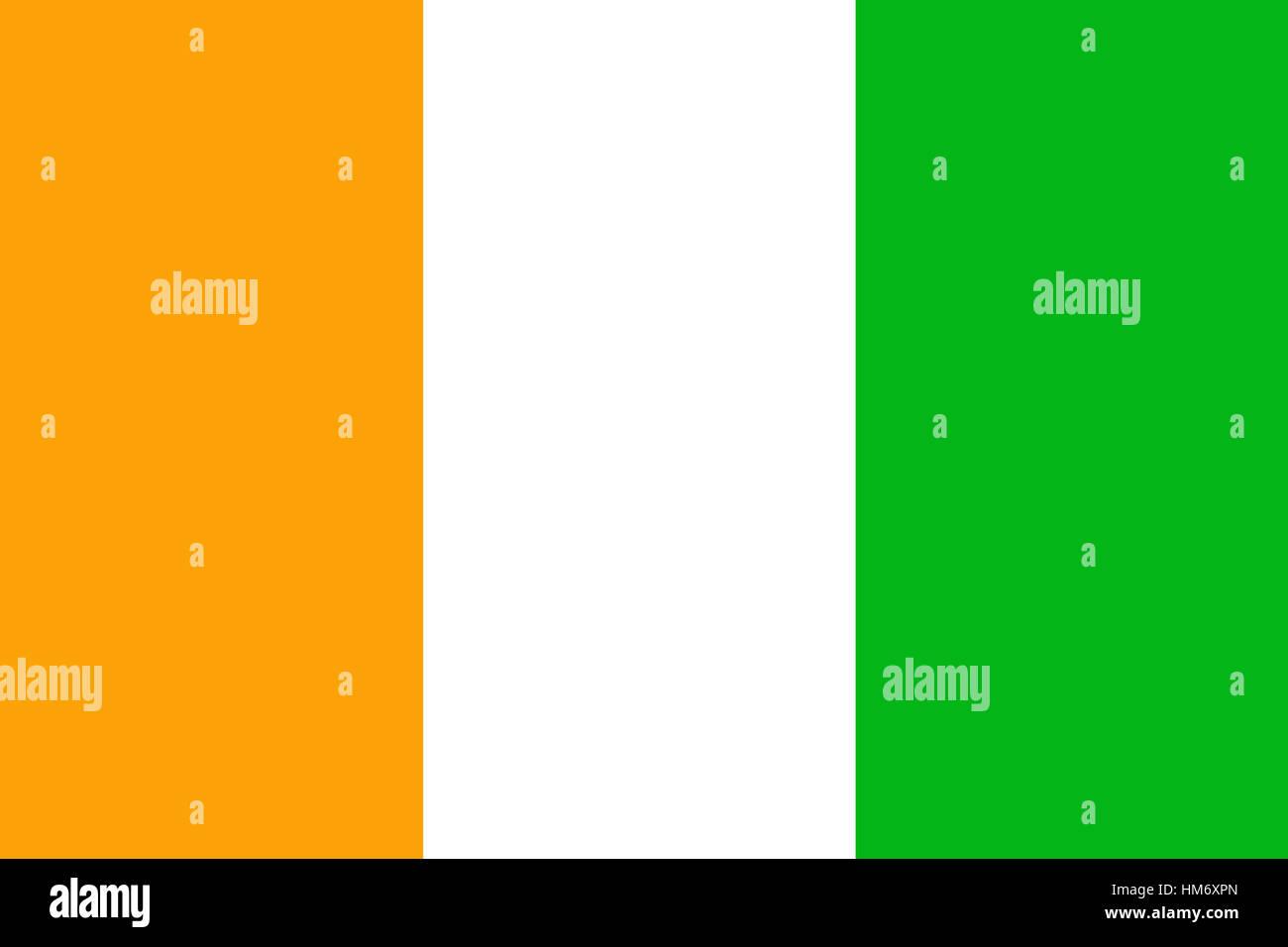 Cote d'ivoire flag 3D illustration symbol. ,Original and simple Ivory Coast flag.Nation flag - Stock Image