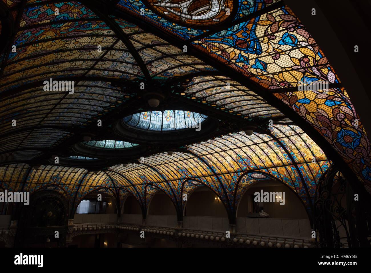 Mexico City Mexico The Art Nouveau Atrium Of The Gran Hotel