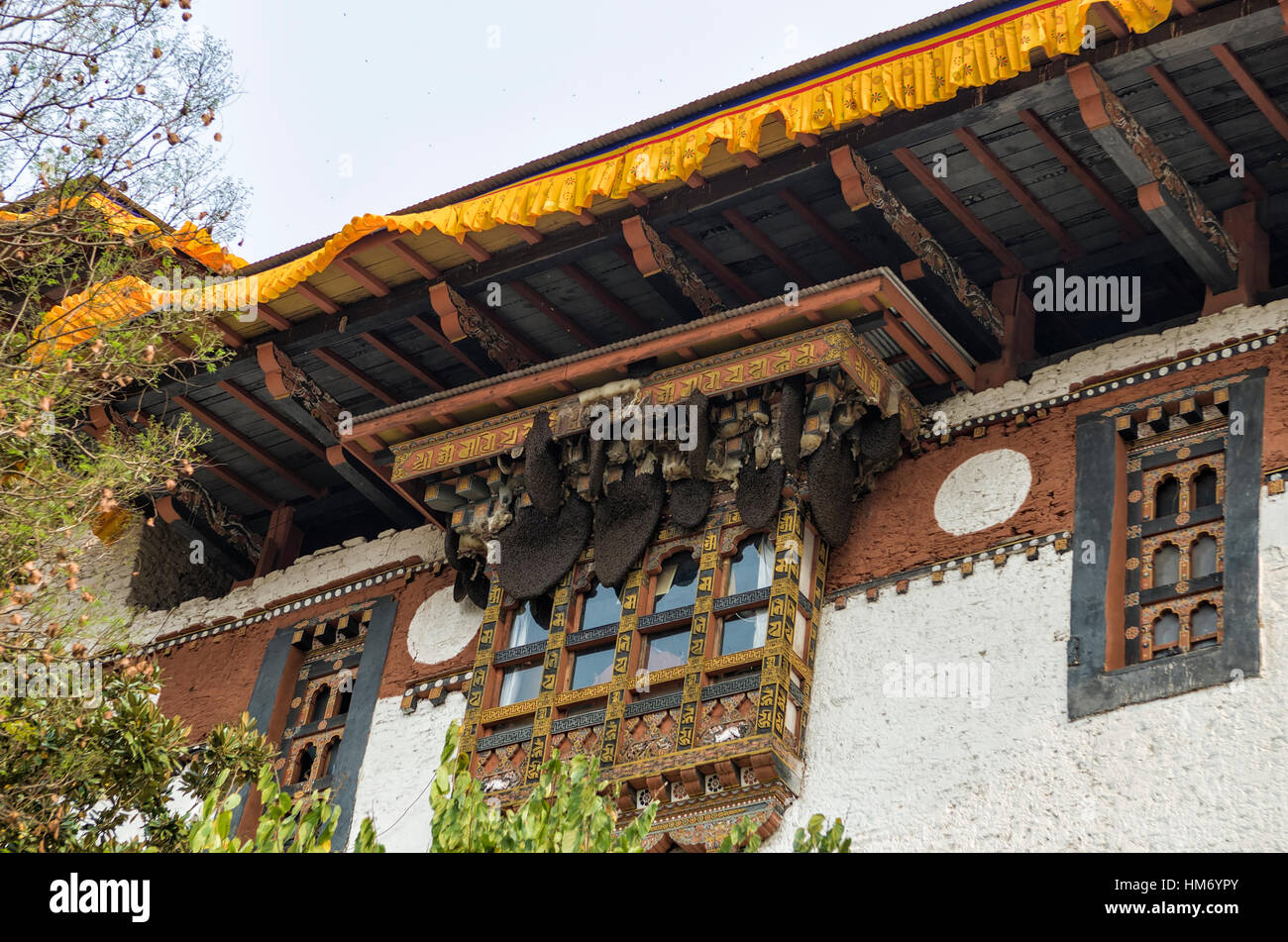 bees honeycomb built at the roof of Punakha Dzong, Bhutan - Punakha Dzong or Pungthang Dewachen Phodrang (Palace - Stock Image
