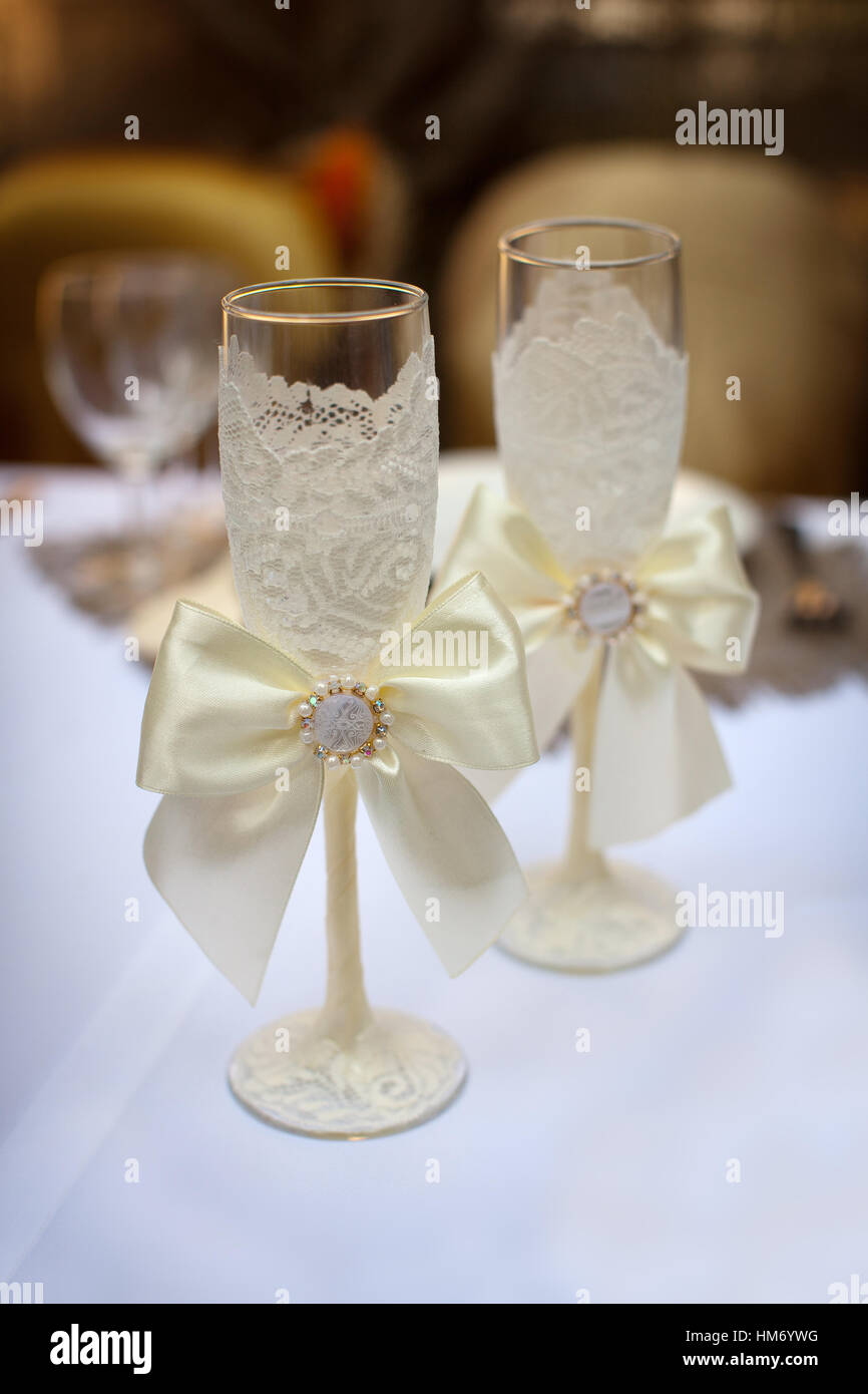 Two decorated champagne glasses for wedding Stock Photo: 132919292 ...