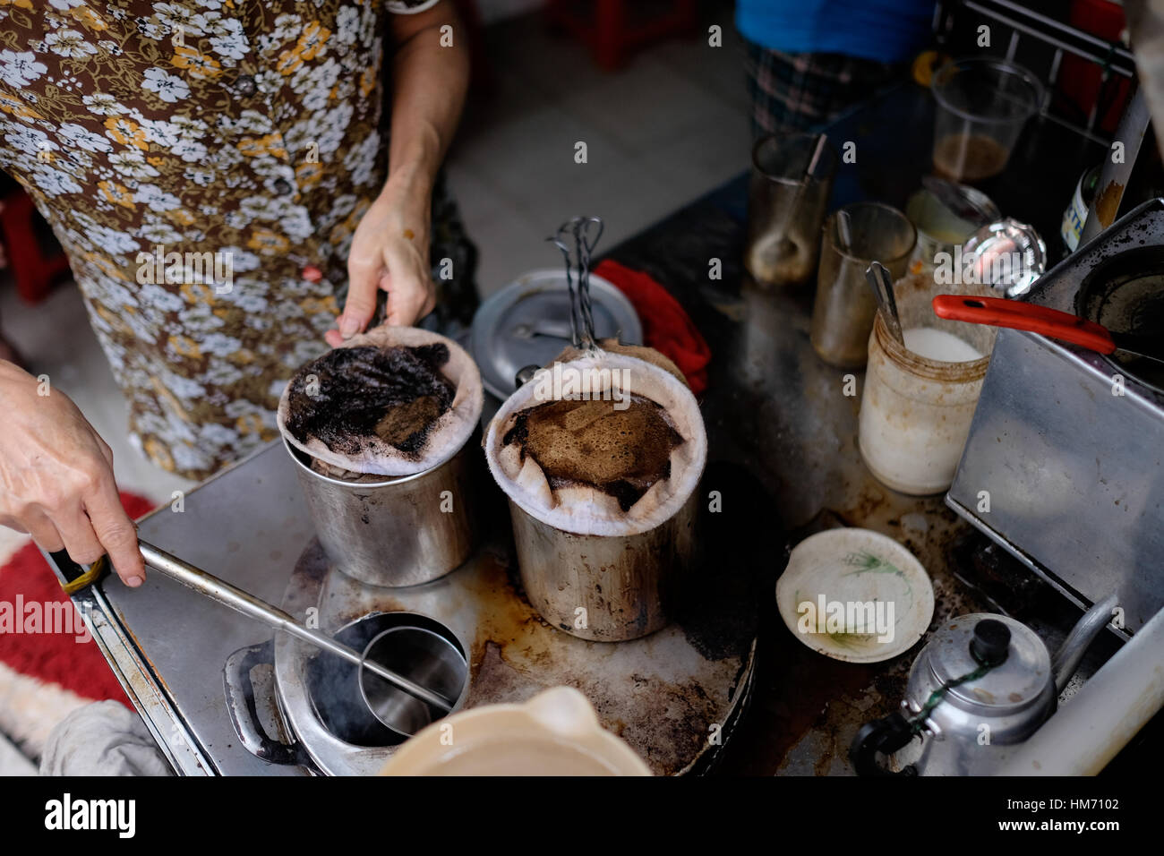 Phan Dinh Phung street, Ho Chi Minh city, Viet Nam - FEB 7: Unidentified woman with private business at home by - Stock Image