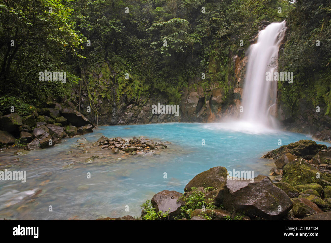 Rio Celeste (Blue River) waterfall in Tenorio Volcano National Park, Costa Rica.  The blue coloration is a result Stock Photo