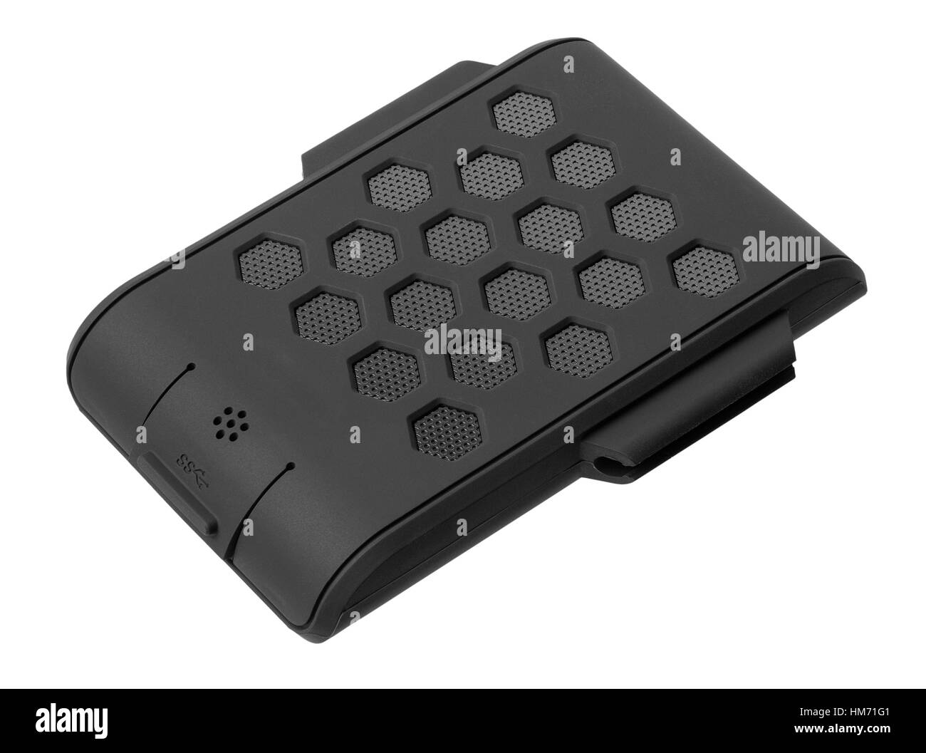 The protected portable hard drive of black color on a white background - Stock Image