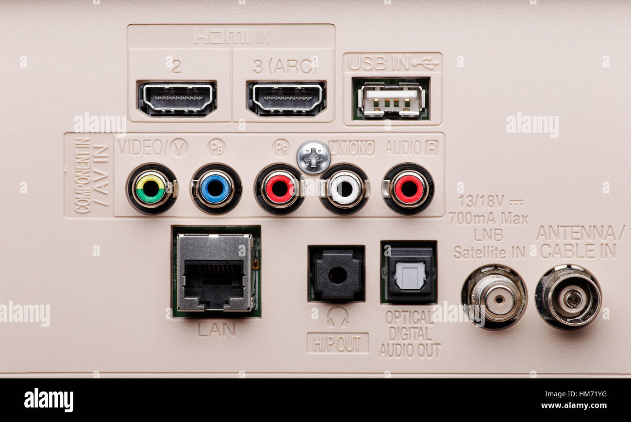 Input and output connectors of the modern TV panel. Hdmi, Lan, Component, AV, USB and etc - Stock Image