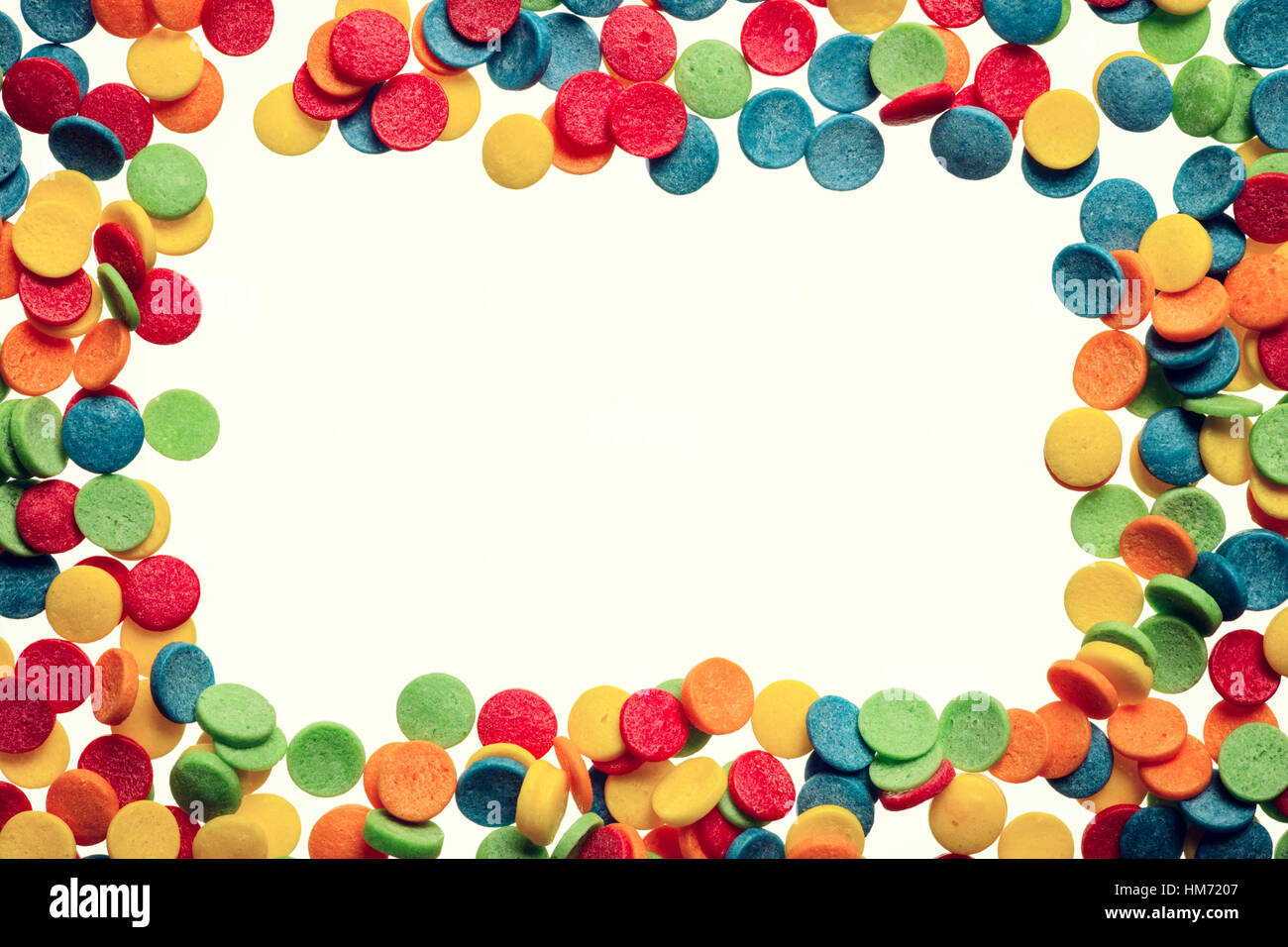 confetti frame for birthday party background image isolated on