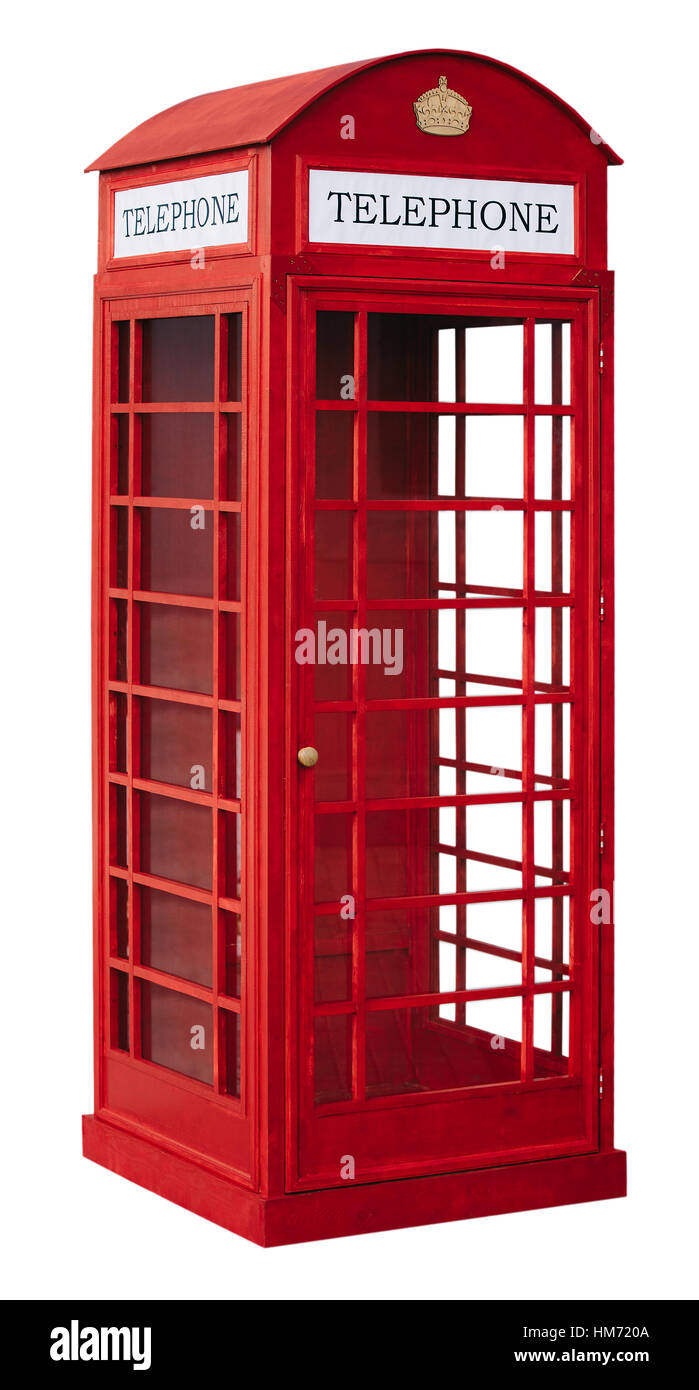 The English red public callbox is isolated on a white background - Stock Image