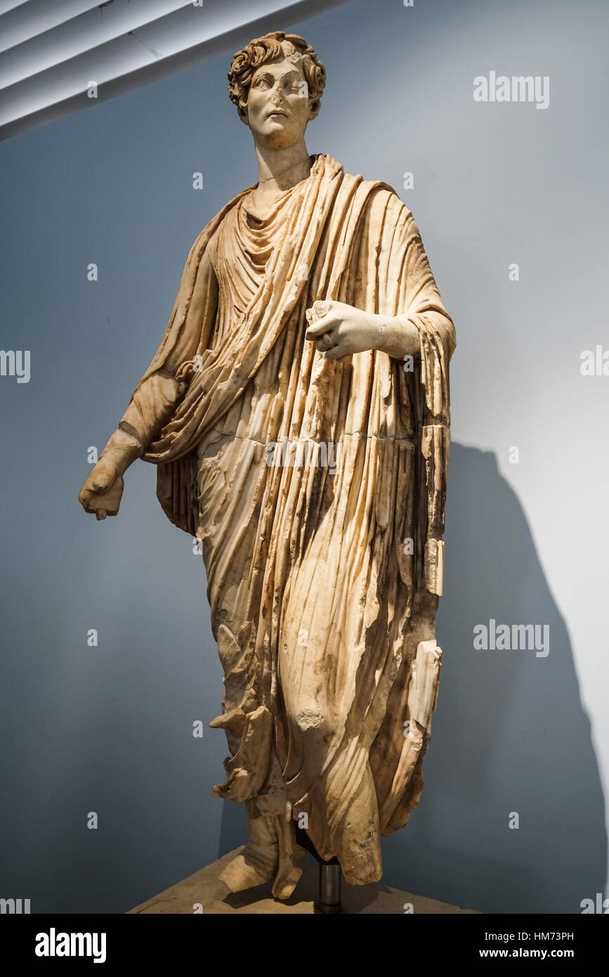 Young aristocrat with toga from Agora. Aphrodisias Museum. Ancient Classic Greece. Asia Minor. Turkey. - Stock Image