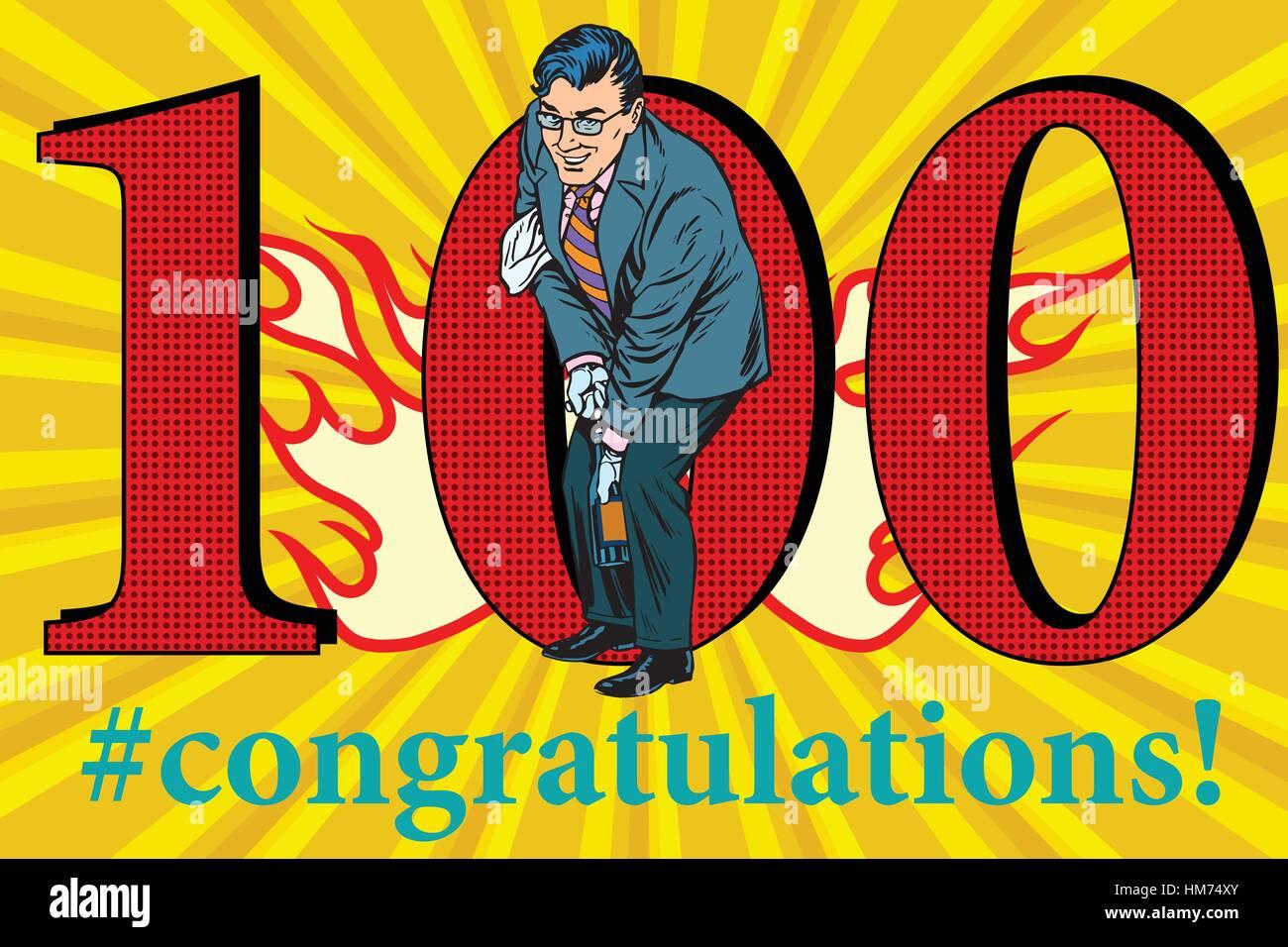 Congratulations 100 anniversary event celebration - Stock Vector