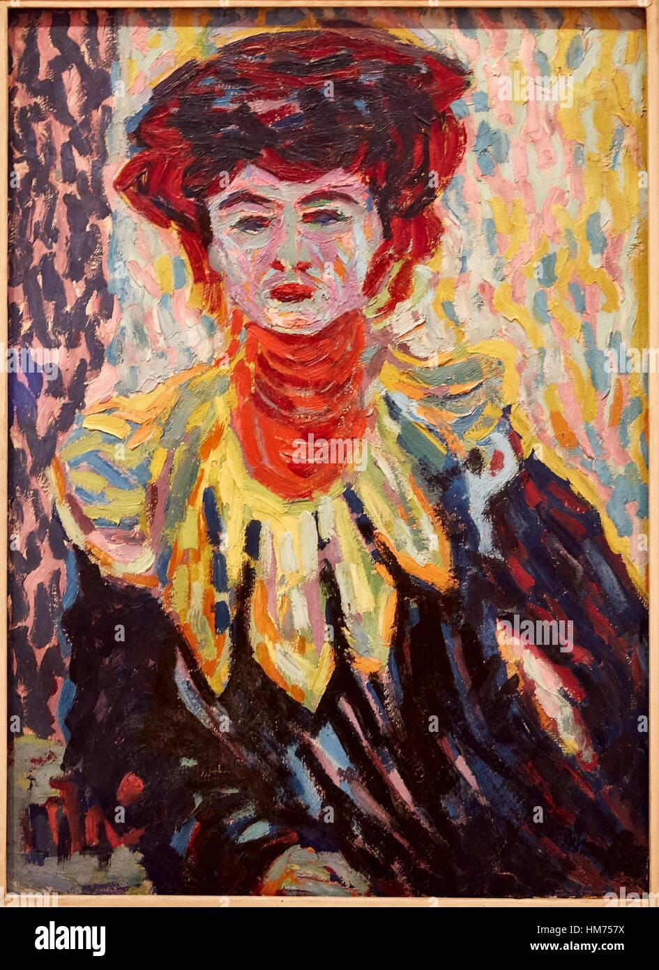 '''Doris with Ruff Collar'', 1906, Ernst Ludwig Kirchner, Thyssen-Bornemisza Museum, Madrid, - Stock Image