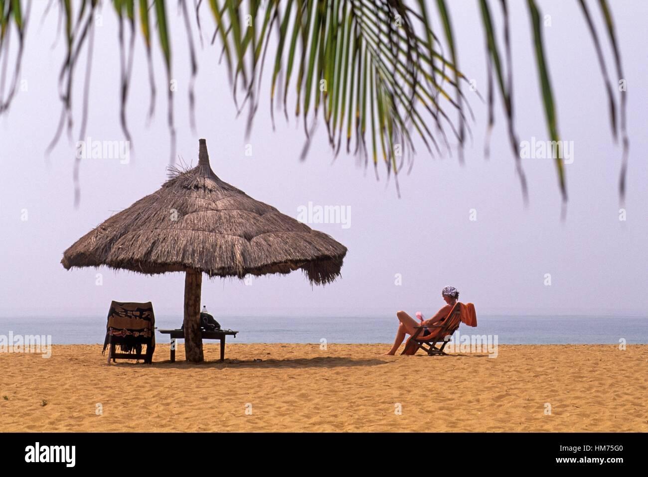 beach of Grand-Popo, Mono department, Benin, Africa. - Stock Image