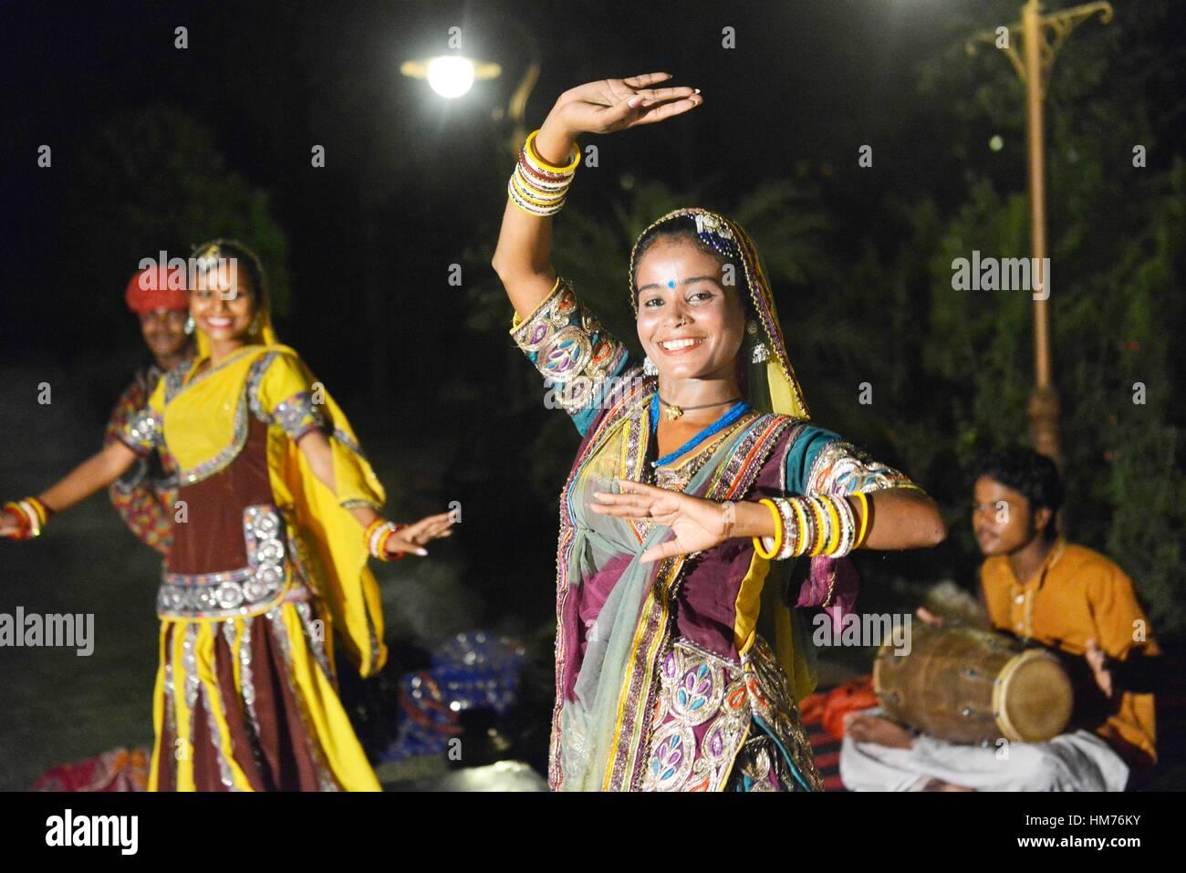 Rajasthani traditional dance in Jaipur, Rajasthan, India. Stock Photo