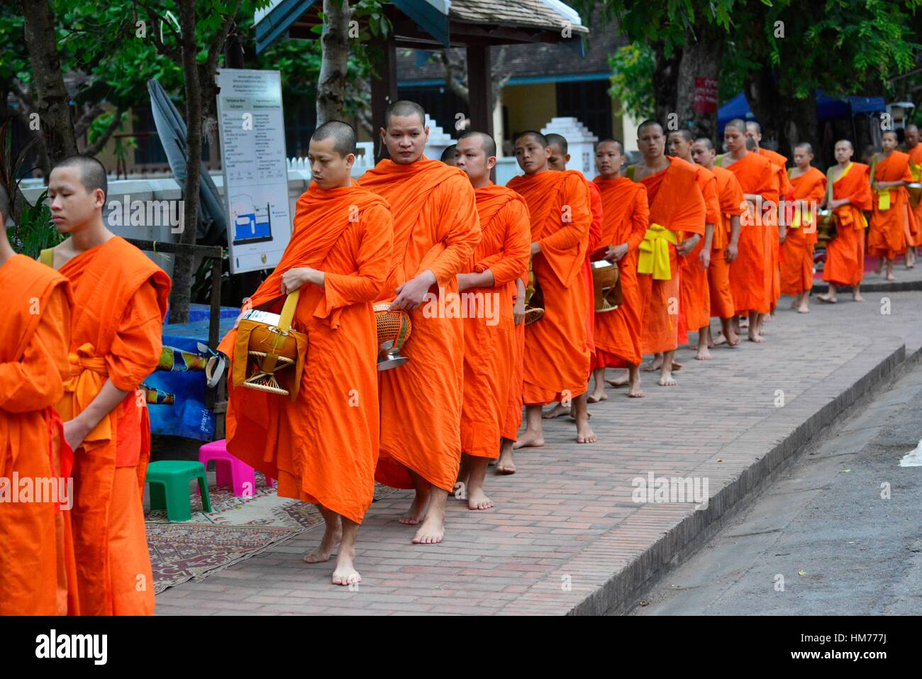 Monks collect food offerings from locals in Luang Prabang,Laos, South East Asia. - Stock Image