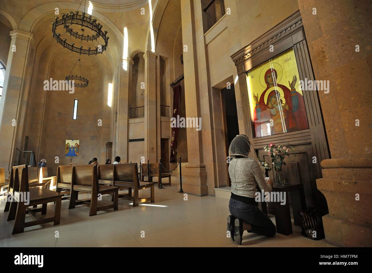recollection inside Saint Anna Church adjacent to the 13th-century Katoghike ChurchKatoghike Holy Mother of God - Stock Image