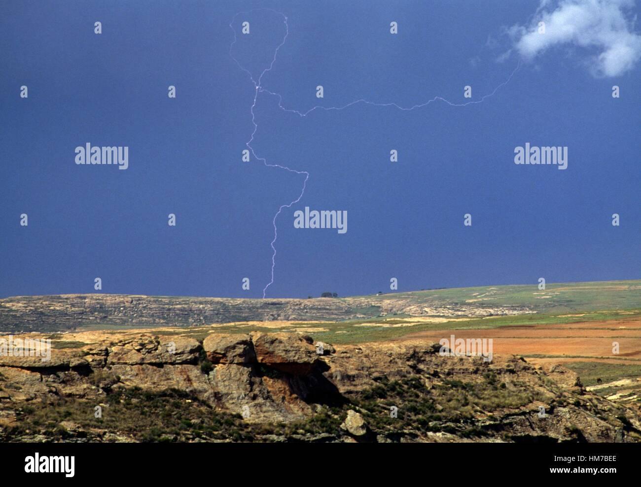 Maseru plain from Lancers Gap, Lesotho. - Stock Image