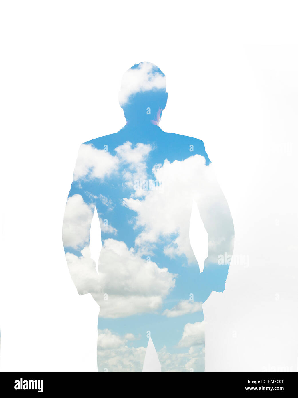 Composite image of clouds and silhouette of man - Stock Image