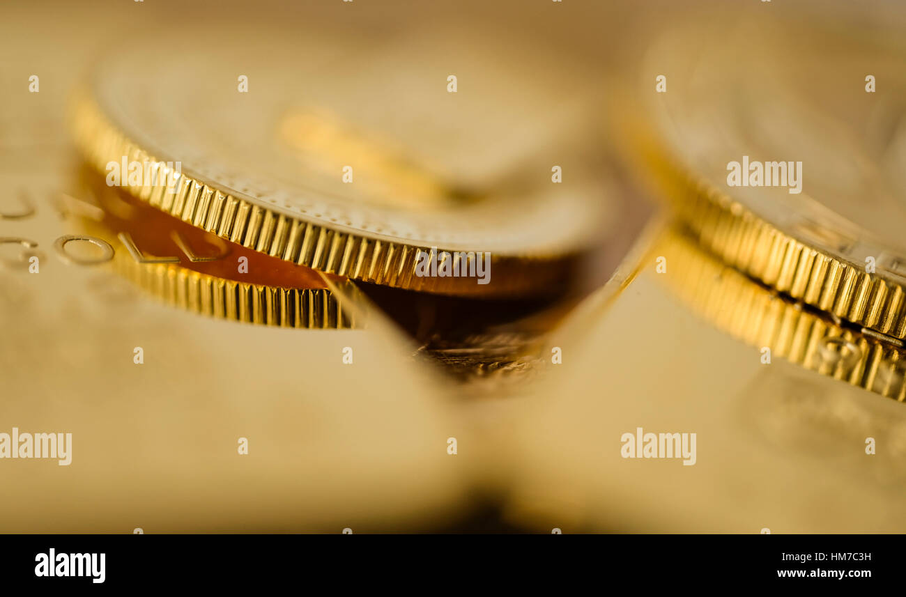 Close-up of gold coins - Stock Image