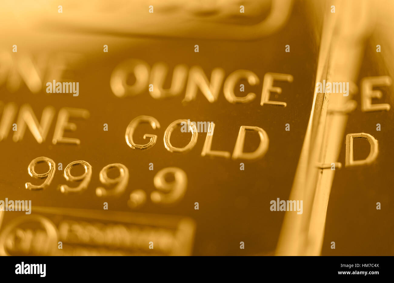 Close-up of gold bar - Stock Image